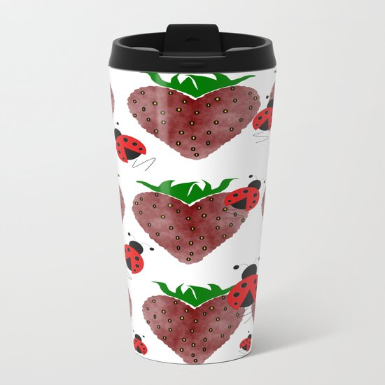 Strawberries And Ladybugs Metal Travel Mug