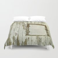 cabin Duvet Covers featuring Yellow Cabin by Nancy Smith