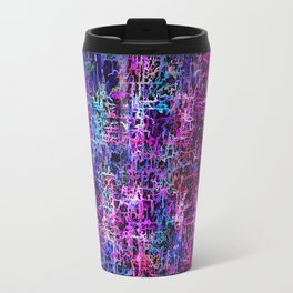 psychedelic abstract art pattern texture background in pink blue black Travel Mug