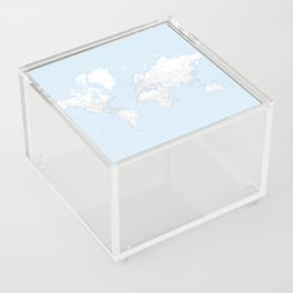 World map, highly detailed in light blue and white, square Acrylic Box