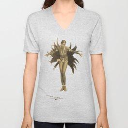 Josephine Baker Feather Costume Unisex V-Neck