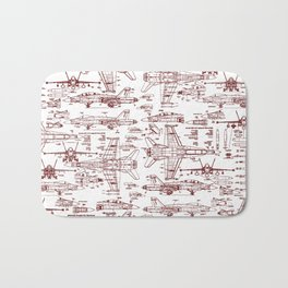 F-18 Blueprints // Red Ink Bath Mat