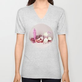 Sweet pink doom - still life Unisex V-Neck