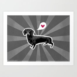 Black & White Dachshund Art Print