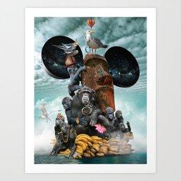 Adrift (Or, Barking Up the Rung Tree) Art Print