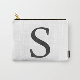 Letter S Initial Monogram Black and White Carry-All Pouch