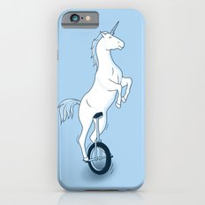 Unicorn on a unicycle - blue Slim Case iPhone 6s
