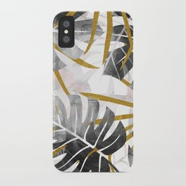 Monstera black and white with golden leaves iPhone Case