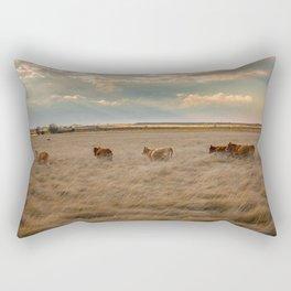 Cows Among the Grass - Cattle Wade Through a Field in Texas Rectangular Pillow