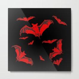 Black & Red Flying Bats Halloween Metal Print