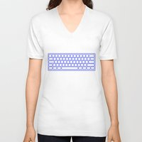 computer V-neck T-shirts featuring Computer keyboard by Sofia Youshi
