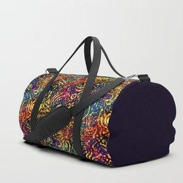 Rainbow Dotted Floral Batik Pattern Duffle Bag