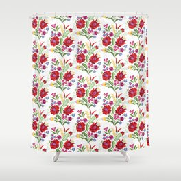 Hungarian Folk Design Red Peppers Shower Curtain
