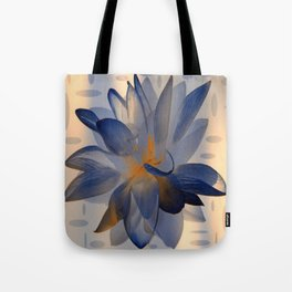 Midnight Blue Polka Dot Floral Abstract Tote Bag