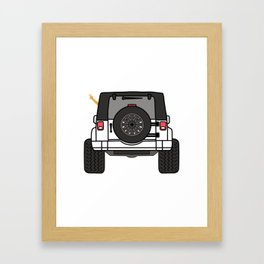 Jeep Wave Back View - White Jeep Framed Art Print