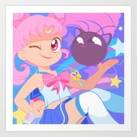 chibi Art Prints featuring Chibi Usa by Pamela Barbieri