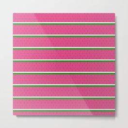 WWATERMELONN - Fruit, Fresh, Watermelon, Juicy, Stripes, Polka Dot, Pink, Green, Kids, Nursery Metal Print