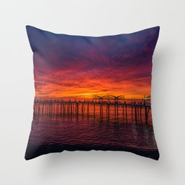 Redondo Pier Sunset Throw Pillow