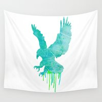 hawk Wall Tapestries featuring Watercolor - hawk by Sophie Rousseau