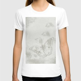 delicate butterflies and textured chevron pattern T-shirt