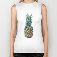 pineapple Biker Tanks featuring Pineapple by Michaela Ramstedt