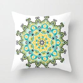 Mandala: Green and Blue Throw Pillow