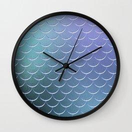 Minimalist Fish Scale Pattern in Iridescent Blue 22 Wall Clock