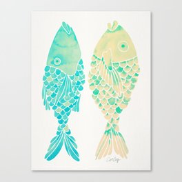 Indonesian Fish Duo – Turquoise & Cream Palette Canvas Print