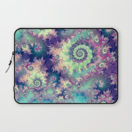 Violet Teal Sea Shells, Abstract Underwater Forest  Laptop Sleeve