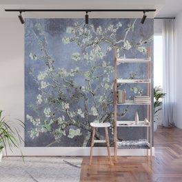 Vincent Van Gogh Almond Blossoms : Steel Blue & Gray Wall Mural