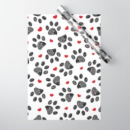 Seamless black paw print with red hearts Wrapping Paper