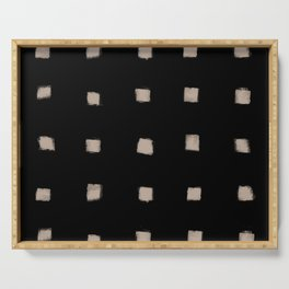 Polka Strokes Gapped - Nude on Black Serving Tray