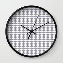 Pantone Lilac Gray Rippled Diamonds, Harlequin, Classic Rhombus Pattern Wall Clock