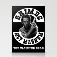 rick grimes Stationery Cards featuring Rick Grimes & .357 Magnum by SwanniePhotoArt