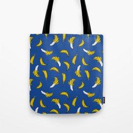 Banana pattern blue print cute minimal bananas by andrea lauren fruit drawing Tote Bag
