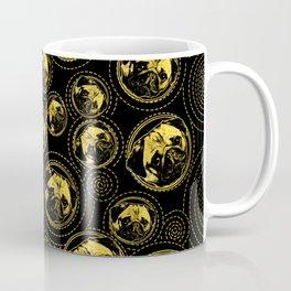 Pug Puppy Pattern gold and black Coffee Mug