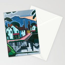 Old Canal Port by Oscar Florianus Bluemner Stationery Cards