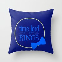 the lord of the rings Throw Pillows featuring Time Lord of the Rings by Michelle Dadoun