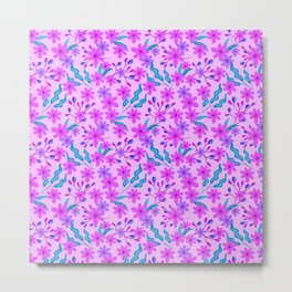 girly flowers, delicate green leaves, branches floral fabric baby pink bright feminine pattern Metal Print