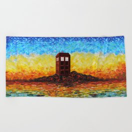 Time and Space Traveller Box in Twilight Zone Beach Towel