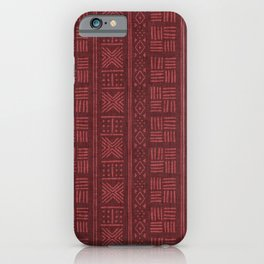 Rich red lines & dots - abstract stripe geometric pattern iPhone Case