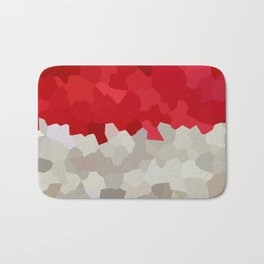 Holiday Red and White Santa Stained Glass Mosaic Abstract Bath Mat
