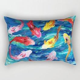 Koi fish rainbow abstract paintings Rectangular Pillow