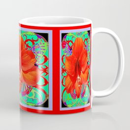 Italian  Style Design Red Amaryllis Abstract Coffee Mug