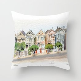 The Painted Ladies Throw Pillow