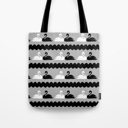 White and Black Swans with Hearts Tote Bag