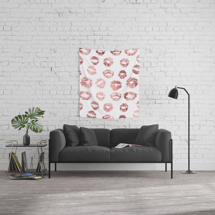Girly Fashion Lips Rose Gold Lipstick Pattern Wall Tapestry
