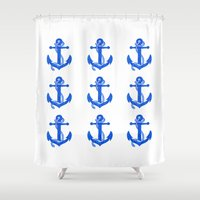 anchors Shower Curtains featuring Anchors by Chilligraphy