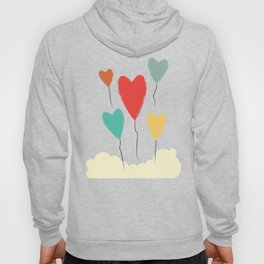 Heart Balloons above the Clouds Hoody