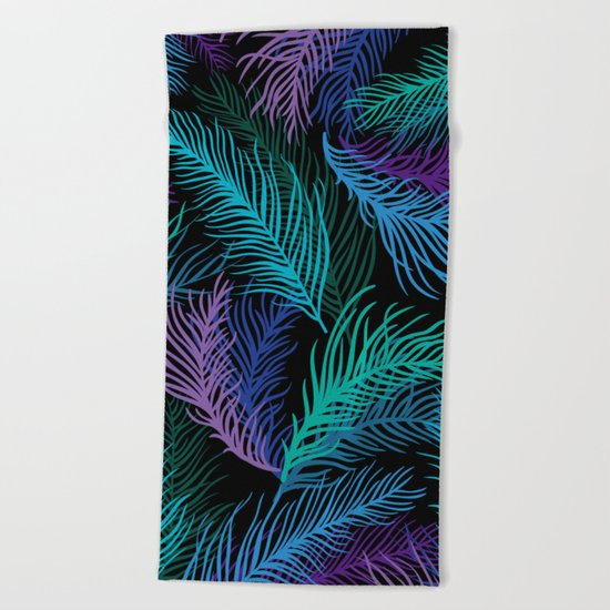 Multicolored palm leaves Beach Towel